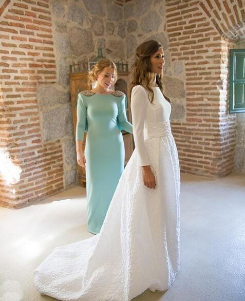 A-line/Princess Full/Long Sleeves Waistband Satin & Lace Long Bridal Wedding Dre…