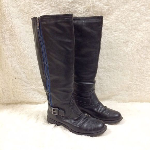 Madden Girl Zandora Boots These boots are made for rockin!  Tumbled, black boot. Royal blue zipper lining. Black, 1in sole. These boots are made football games to frat parties. Madden Girl Shoes Combat & Moto Boots