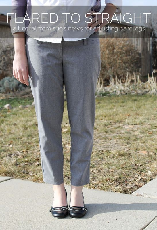 An easy answer to all those old-school pants you have hiding in your closet. Tutorial: Taking in Pant legs