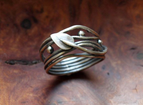 Elven Ring  sterling silver oxidised leaf vine  made by Dreamspell