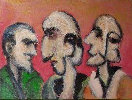 Gode rygter (rød), 2010. 40x30cm, akryl på lærred. Indrammet maleri af Rune Frederiksen, vejl. mindstepris kr.: 800,-