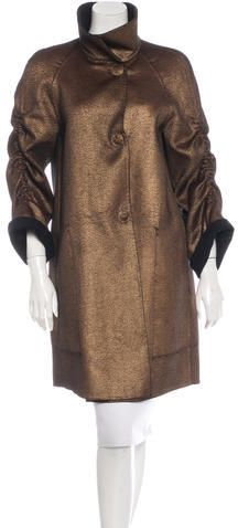 Akris Metallic Wool-Blend Coat