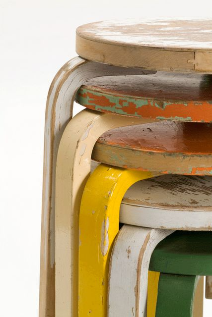 vintage stacking stools. look great, and a wonderful way to add seating during gatherings.
