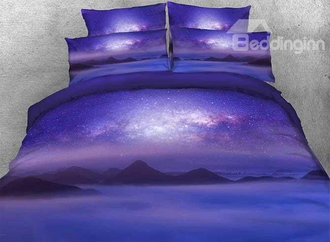 3D Mountain under Galaxy Printed Cotton 4-Piece Purple Bedding Sets/Duvet Covers