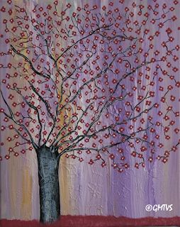 Painting and Texture: Acrylic Painting: Black Cherry Tree -Contemporary Art