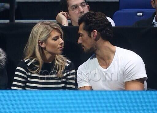 British Model David Gandy and girlfriend, Mollie King  at ATP Finals November 11, 2013. The look of love...