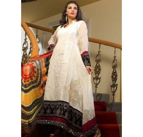 £69. Pure Chiffon. Fully Sticthed. Latest Pakistani Fashion I LUV Designer - Pure Chiffon Stylish 3 Piece White Self Printed Dress Pakistani Stitched Suit by Strawberry - Latest Pakistani Fashion www.iluvdesigner.com