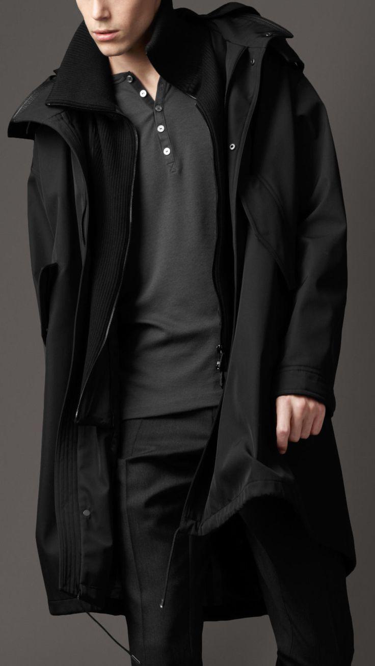 Burberry Hooded Caban Coat in Black for Men