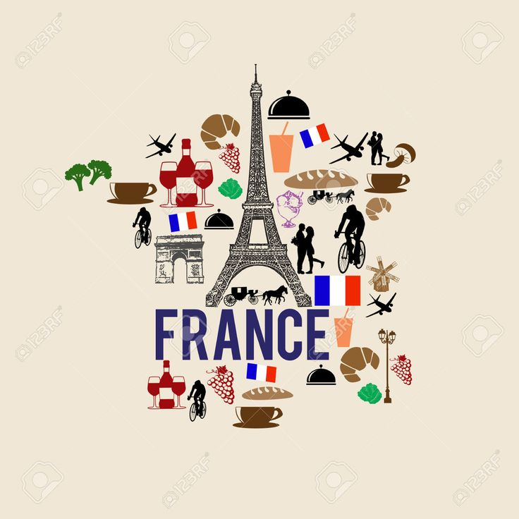France Landmark Map Silhouette Icon On Retro Background, Vector.. Royalty Free Cliparts, Vectors, And Stock Illustration. Pic 26132503.