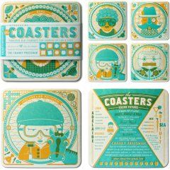 Cheeky copy, elaborate illustrations, and turquoise & orange inks make me want to frame these coasters instead of actually using them. Designed by Parliament of Owls and printed by the Cranky Pressman.