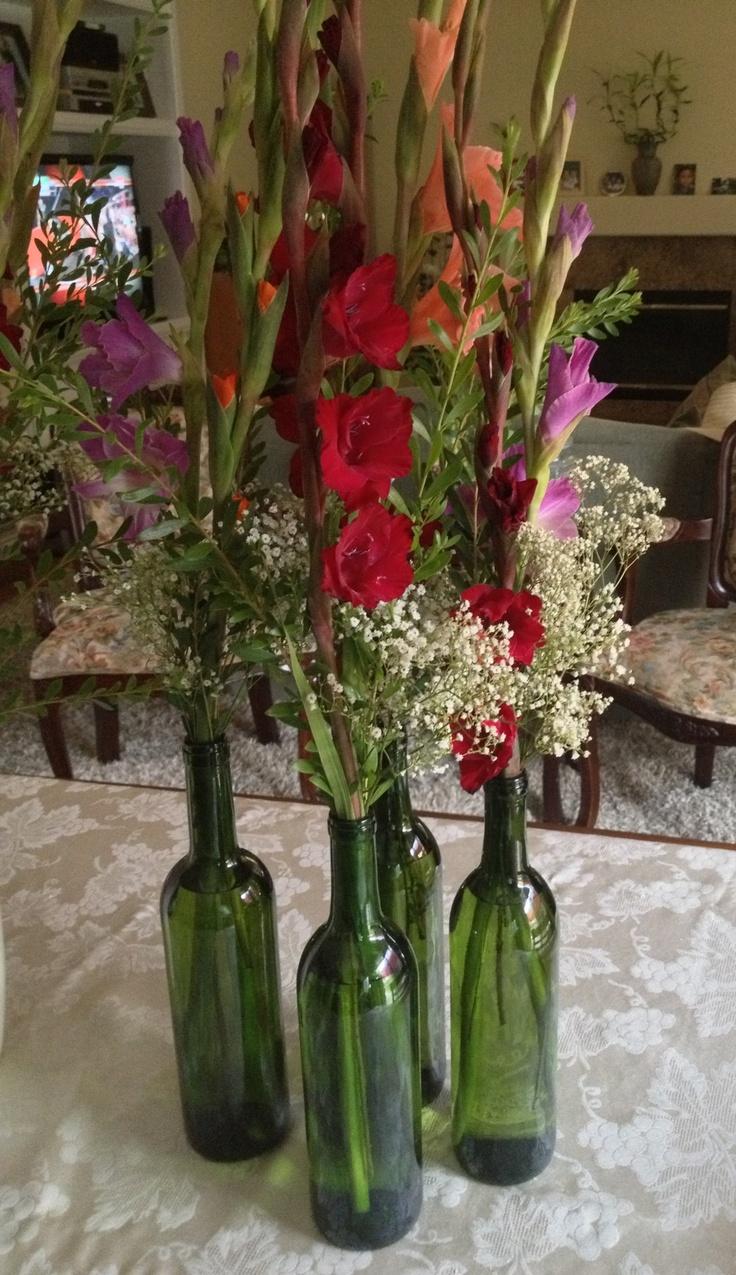 Wine bottles as vases wedding pinterest bottle for Liquor bottle vases
