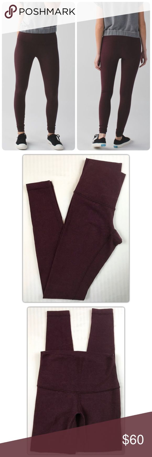 """Lululemon Hi-Rise Cotton Wunder Under Leggings This is a pair of very gently preowned Hi-rise Wunder Under Leggings!  Color: Bordeaux Drama Super soft and stretchy cotton!  four-way stretch Practice Cotton fabric is naturally breathable and feels soft against your skin DIY hemming! Bar tacks along the sides let you customize the length (without worrying about unraveling seams)  Fit + function fabric(s): Practice Cotton rise: high or low - you choose! inseam: 30 1/4"""" leg opening: 7 3/4""""…"""