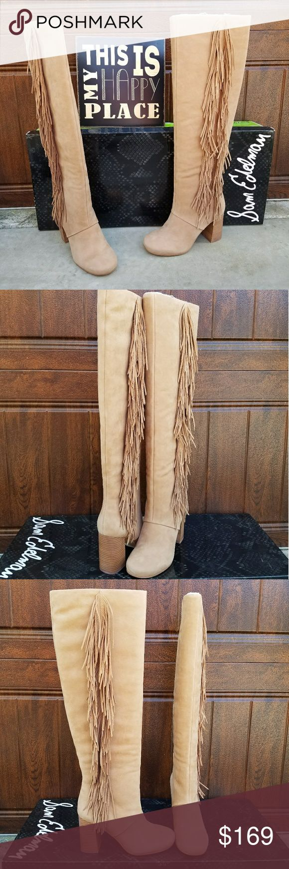 """Gorgeous Tall Fringe Sam Edelman Boots A stacked heel and dramatic fringe trim heighten the rustic, Western vibe of a look-defining over-the-knee boot.  - Almond toe - Side fringe trim - Pull-on - Stacked chunky heel - Approx. 19"""" shaft height, 14.5"""" opening circumference - Approx. 3 1/4"""" heel Sam Edelman Shoes Over the Knee Boots"""