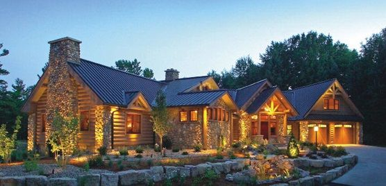 Custom luxury log home plans for country home style for Custom luxury log homes