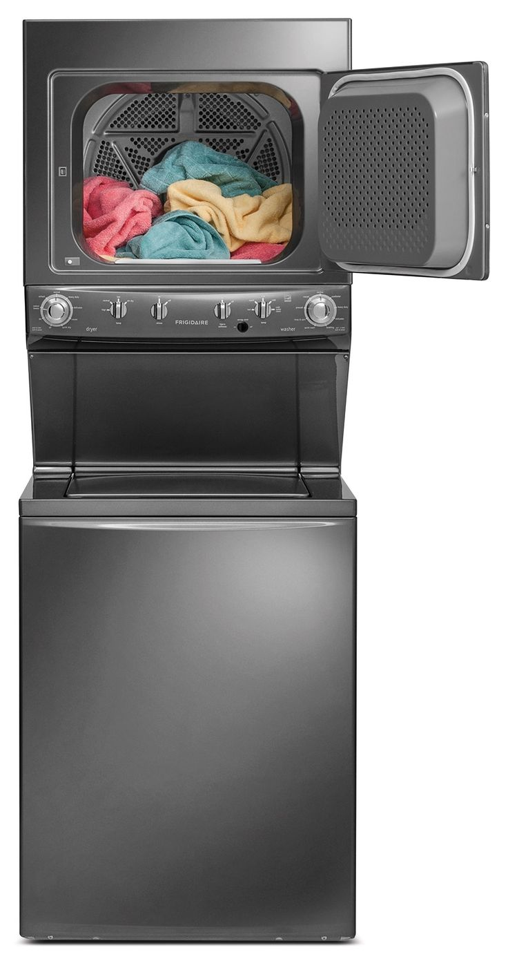 Save on space with this stacked washer and dryer from Frigidaire that's perfect for small homes. Despite its compact size, you'll cut down on laundry time with this machine's super capacity and super speed. Plus, with nine wash cycles and nine dry cycles, this laundry centre provides plenty of options to meet your family's cleaning needs.