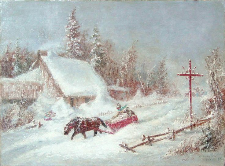 'Untitled Winter Sleigh' by Cornelius Krieghoff Oil on canvas, 1858  at Mayberry Fine Art