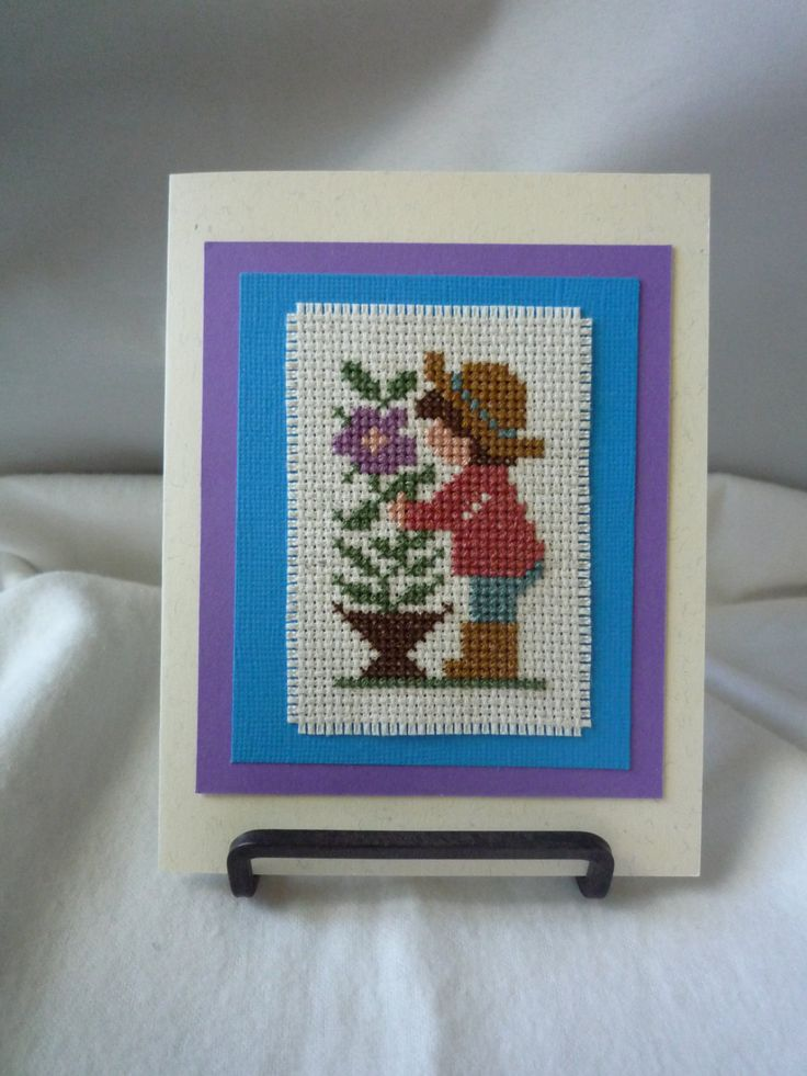 Tending My Flowers, Hand Stitched Card by HMCrafters on Etsy