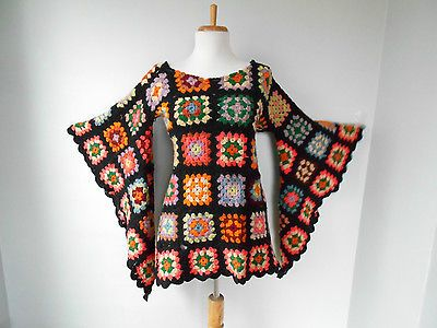 VTG 70s BoHo Hippi Crochet GRANNY SQUARE Angel Slv AFGHAN Mini Festival DRESS in | eBay