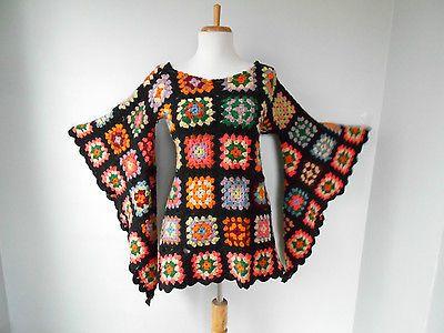 VTG 70s BoHo Hippi Crochet GRANNY SQUARE Angel Slv AFGHAN Mini Festival DRESS in   eBay