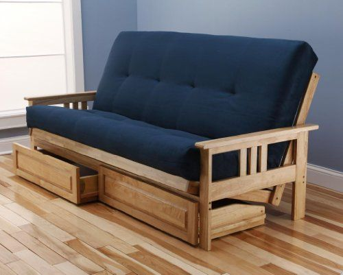 Woodbury Full Size Futon Sofa and Drawer Set, Natural Finish Hardwood Frame And Soft Suede Innerspring Mattress...