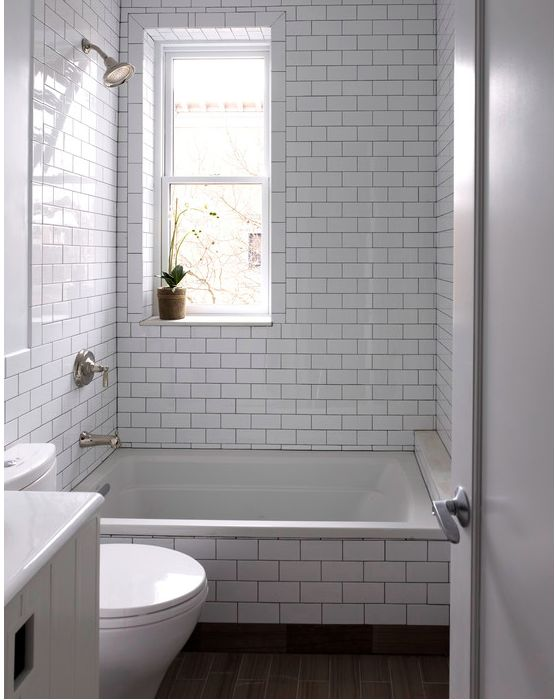 Small Bathroom White Subway Tile With Black Grout