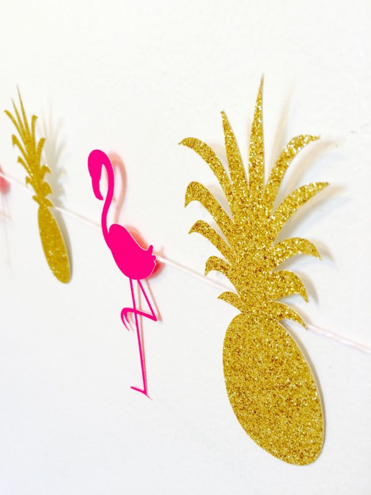 Pineapple and Flamingo Garland- Luau Party! by Nostresspartyforless on Etsy https://www.etsy.com/listing/241772222/pineapple-and-flamingo-garland-luau