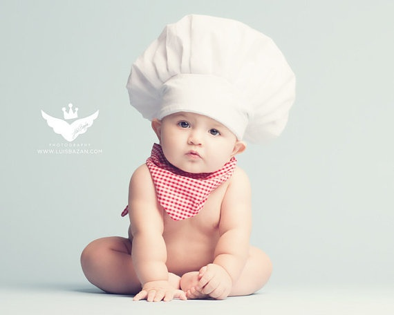 listing for velcro chefs hat for baby shoot adorable. Our child will totally have this.