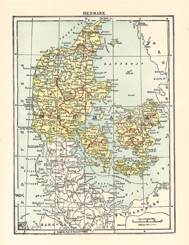 old map of Denmark from 1904.