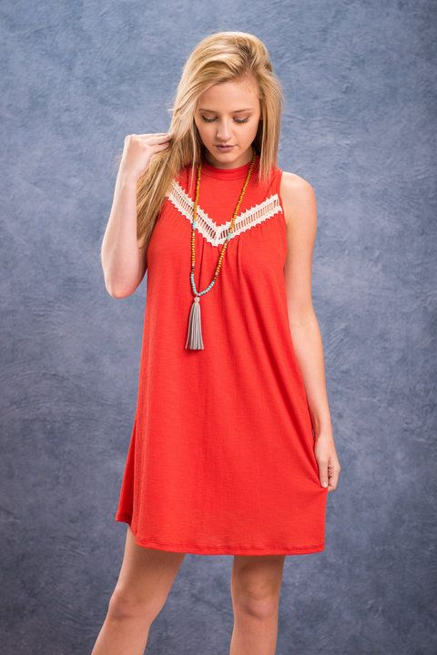 The Kiss Dress, Tomato    This dress feels like a first kiss! You get those butterflies in you tummy and you feel all warm and fuzzy! That's this dress! It's so comfy and chic it can make you feel all that and more! You'll get such a confidence boost from all the compliments you get from it! We love the bright tomato red color and that cream colored crochet detail just pops!