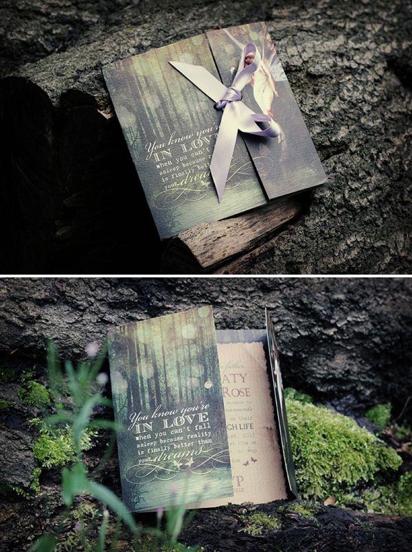 Whimsical Woodland Forest Fairy wedding invitation.