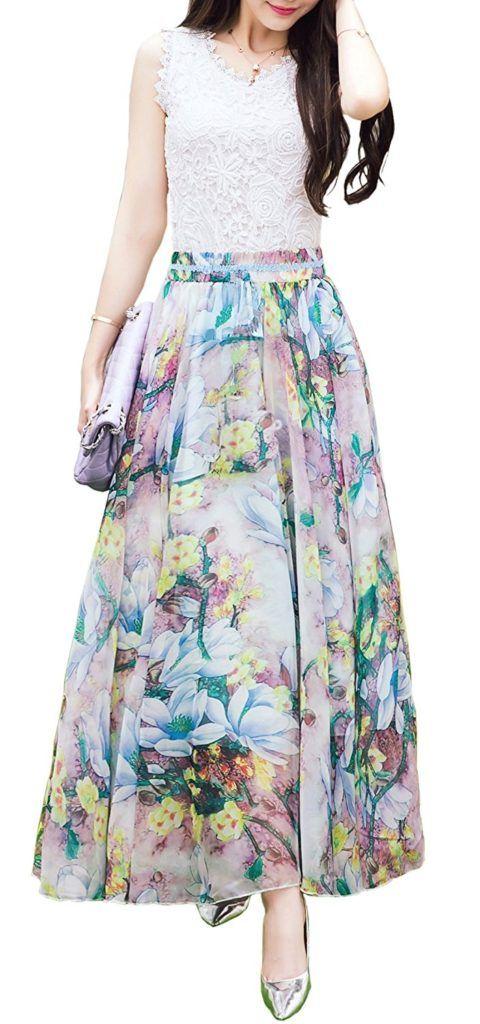 bb04af3a24 Afibi Women Full/Ankle Length Blending Maxi Chiffon Long Skirt Beach Skirt