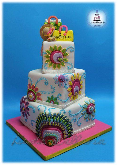 DESIGUAL STYLE - by Linda Bellavia Cake Art @ CakesDecor.com - cake decorating website