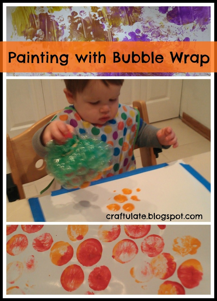 Craftulate painting with bubble wrap painting without for Craft paint safe for babies