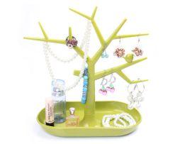 Stojan na šperky v tvare plastového stromu - zelený