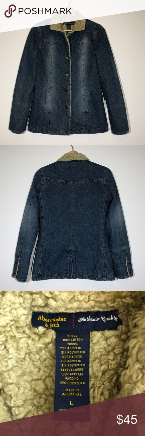 "American Eagle Outfitters Large Denim Jacket Coat Womens American Eagle Outfitters jean jacket size large. Faux Sherpa lined. Button down front. Long sleeve coat style. Gently used with no flaws.   Measurements when laying flat: bust 17"" length 27"" American Eagle Outfitters Jackets & Coats Jean Jackets"