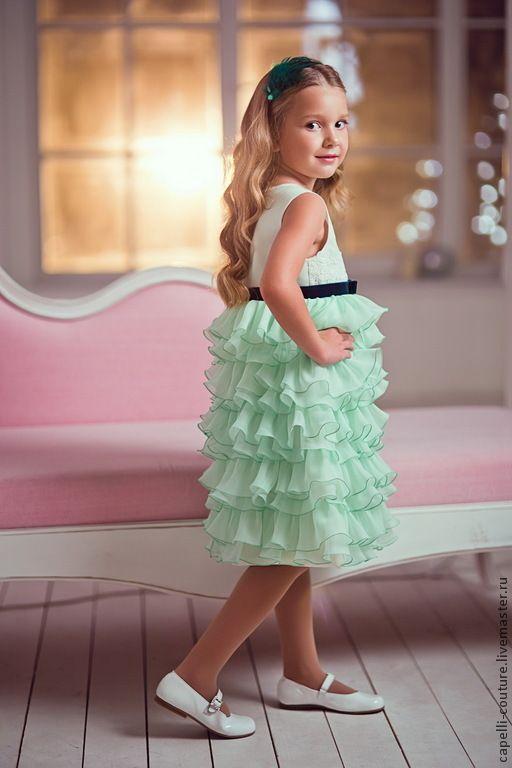 Купить Vera нарядное платье для девочки мятного цвета - мятный, однотонный, мятный цвет