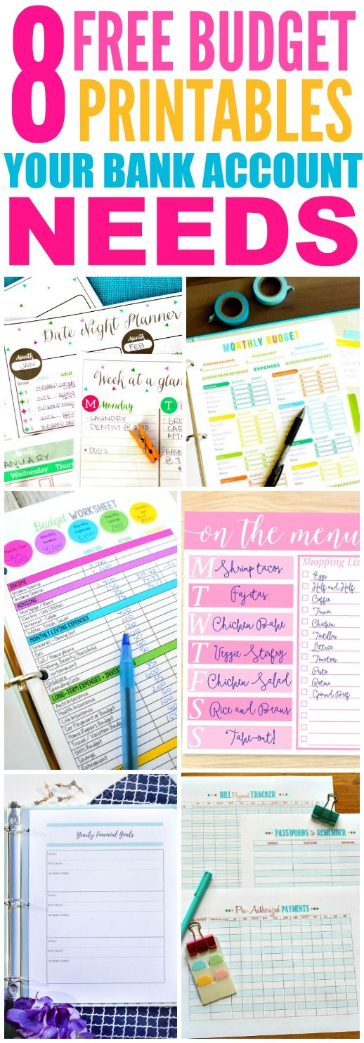These 8 Free Budget Printables are THE BEST! I'm so glad I found these GREAT ideas! Now I have great ways to make a budget and save money! Definitely pinning!