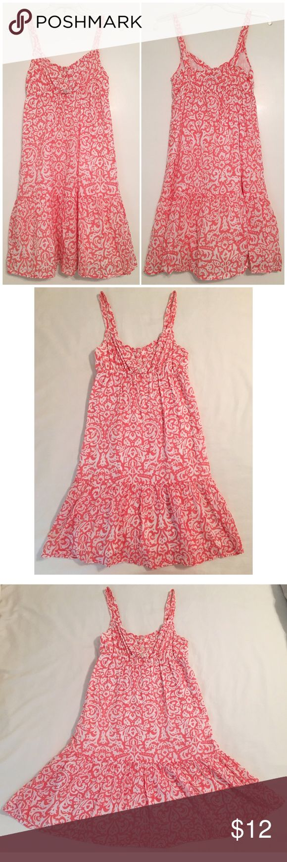 Old Navy Coral Floral Peplum Sundress Old Navy Floral Peplum Sundress Size Extra Small Fully Lined Coral Orange Pink Color Elastic band around the waist Three buttons on the front Flares out at the bottom Worn 3 times Excellent Condition!  Perfect for spring and summer!🌸💛 Old Navy Dresses Mini