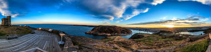 A 360 degree view from Signal Hill/Cabot Tower in St John's Newfoundland and Labrador Canada. Signal Hill is one of Newfoundlands prime tourist locations. Look out over Cape Spear, Fort Amherst and the Atlantic Ocean. Photography by Brian Carey http://www.briancareyphotography.com/