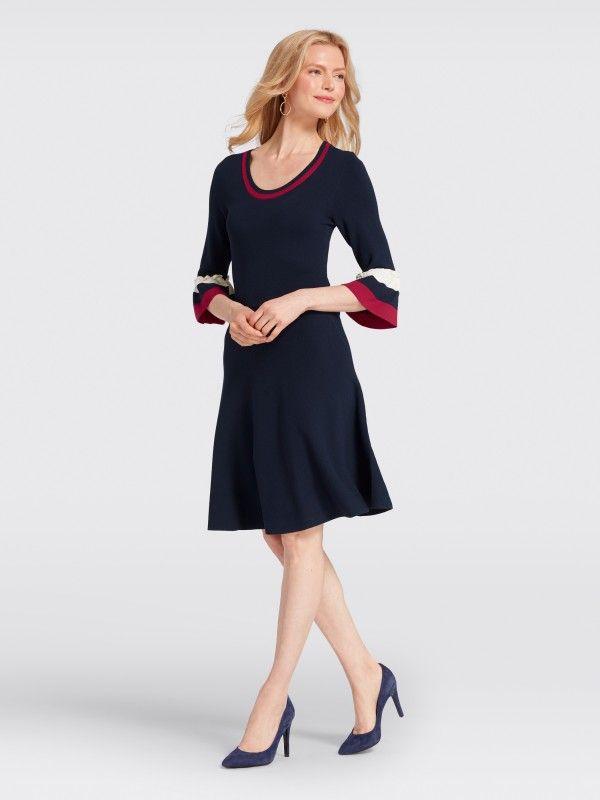 51c95a9a041 Stripe Bell-Sleeve Sweater Dress in nassau navy multi by Draper James