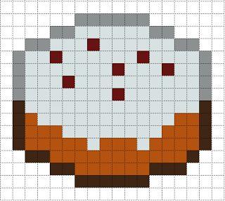 Minecraft Cake perler bead pattern