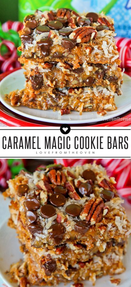 Caramel Magic Cookie Bars. Magic cookie bars are my favorite Christmas dessert, and they just got better!  A twist on the classic magic cookie bar recipe, these have caramel in them!
