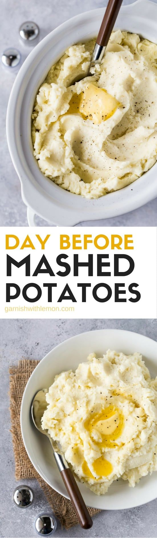 These Day Before Mashed Potatoes are a lifesaver whenreheat in your slow cooker! #thanksgiving #potatoe #crockpot