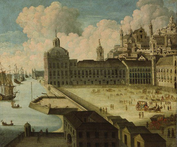 Terreiro do Paçoand Ribeira Royal Palace prior to destruction 1755 Lisbon earthquake 1st half 18c Painter unknown selected by www.onlyart.eu