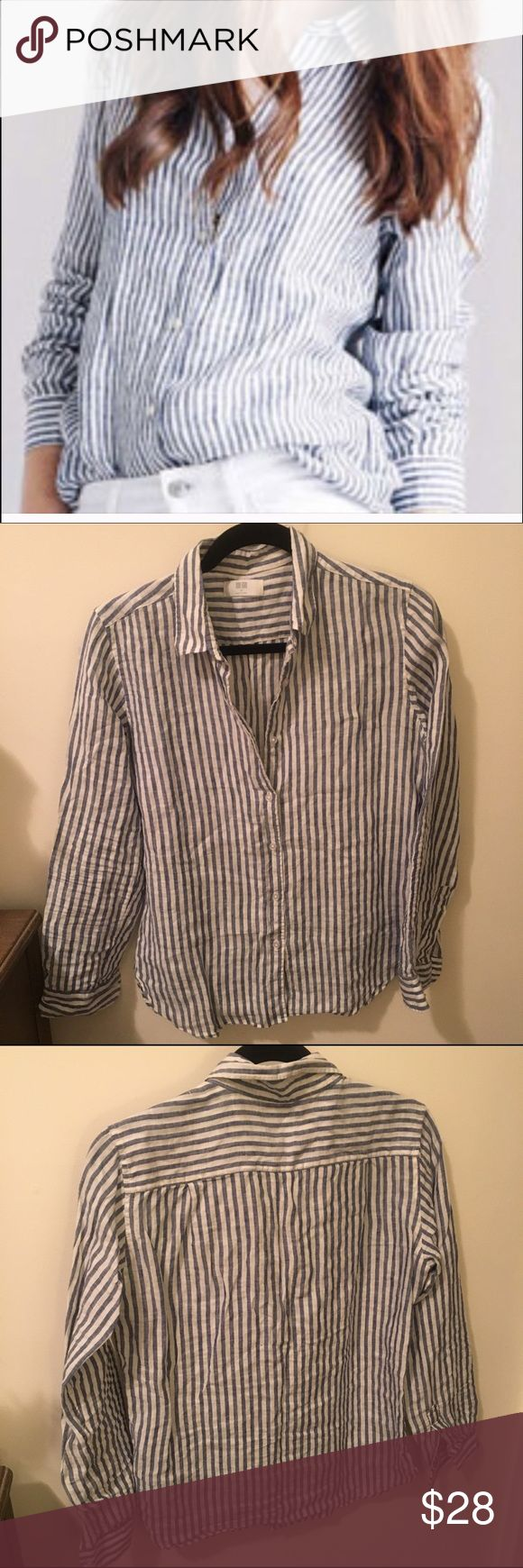 Uniqlo Linen Striped Button Down Shirt Uniqlo navy blue striped linen shirt. Excellent condition. Please note this is a Japanese M (more like a US small) Uniqlo Tops Button Down Shirts