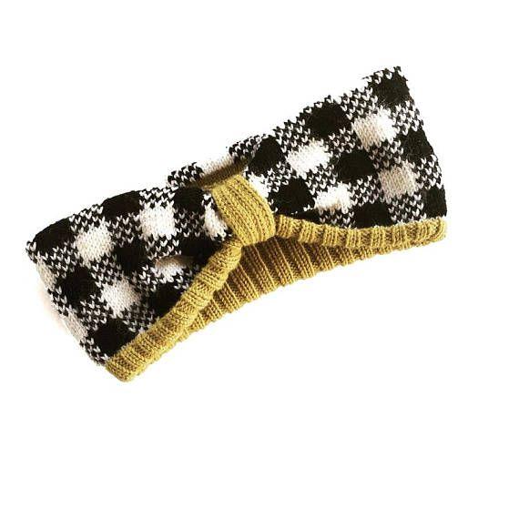 Knit Headband, Merino Knit Turban, Plaid Knit Headwrap, Turban headband, Winter headband, Plaid Ear warmer, wool Bow headband, Gifts for her