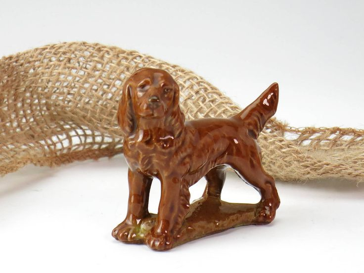 Wade Red Setter Miniature Figurine - Wade Irish Setter Figurine - Miniature Dog Figurine - Wade Whimsies, Puppies and Dogs - Dog Miniature by EightMileVintage on Etsy