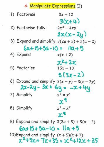 Quick mark Mathematics GCSE questions