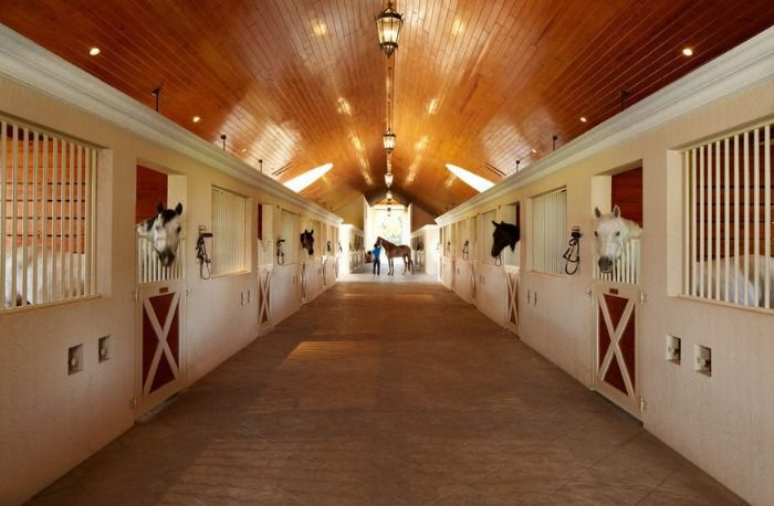 Horses inside the stables, 18 stalls total & this farm goes for $26.9m