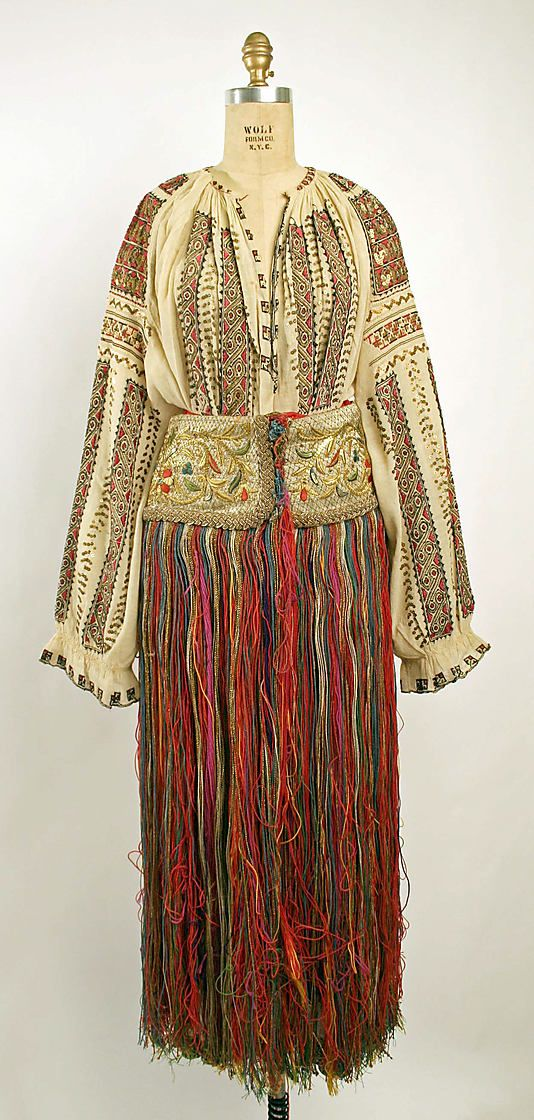 Dress  Date: 19th century Culture: Romanian Medium: a,b) cotton, silk c) silk, wool  Metropolitan Museum of Art